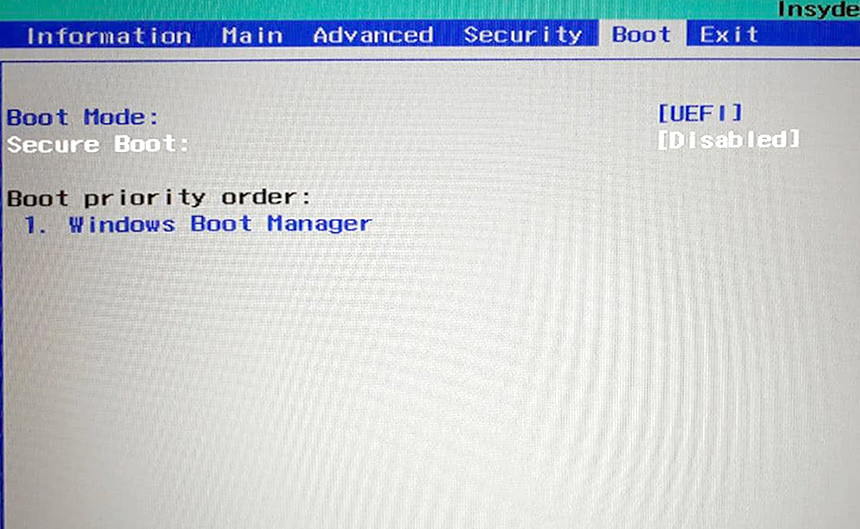 Acer Secure boot BIOS UEFI