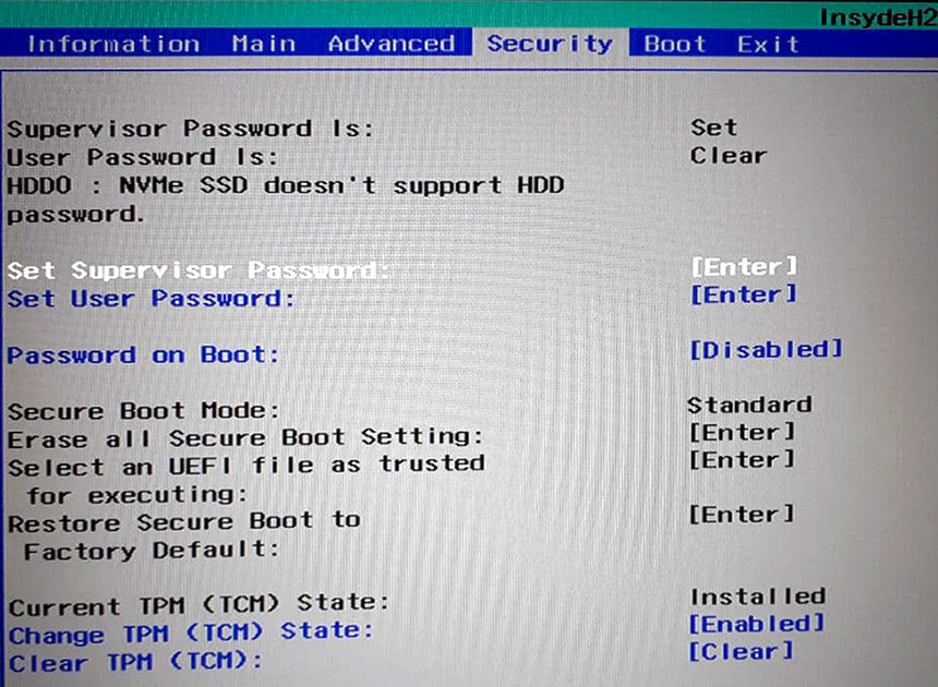 Acer Supervisor Password set